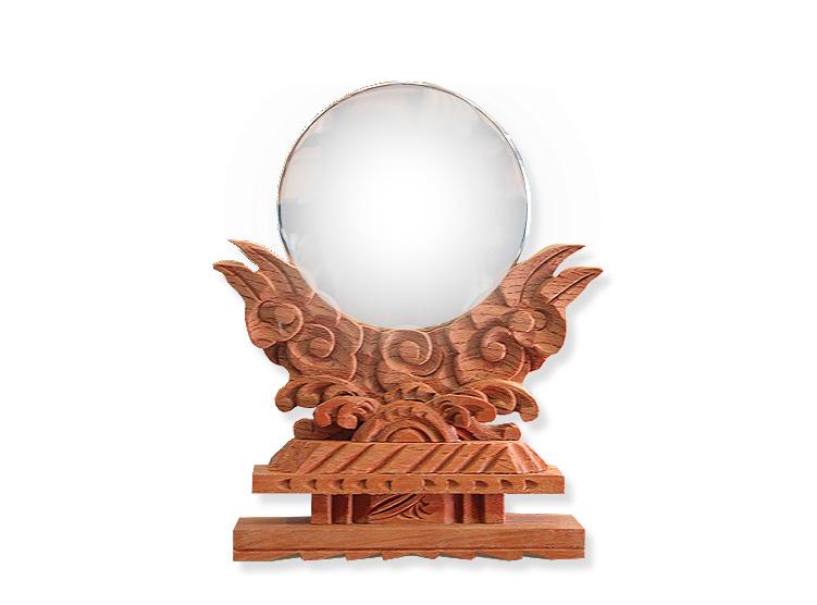 神棚 神具 神鏡 【けやき色 極上彫り神鏡 2.5寸】 高級 鏡 彫刻 タモ (けやき色着色)