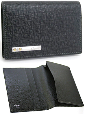 huge selection of f7076 7ee20 Cartier Cartier CARD CASE two bi-fold folding card case two card holders,  case SANTOS DE CARTIER Santos Gran Cafe leather card case L3000771 black ...