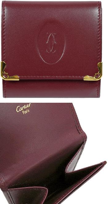 Cartier 購入 カルティエ コインケースエンボス2Cロゴ 商店 ワインレッド エッジフレームボルドー小銭入れ マストドゥカルティエ新品未使用 MUST CASE WALLET 中古 COIN