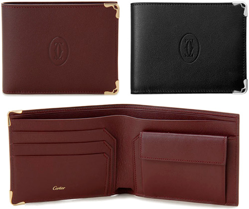 Cartier 小銭入れ付き二つ折り財布マストドゥスカルティエ 小銭入れあり2つ折り財布ブラック ワインレッド2Cロゴ エッジフレーム新品未使用【中古】MUST DE CARTIER WALLET