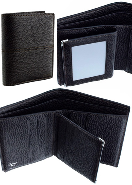 Cartier 二つ折り財布サドルステッチセリエ カルティエ 型押しレザー エボスロゴ2つ折り財布IDケース 小銭入れなし 定期入れエボニーダークブラウンクリアポケット新品未使用【中古】 WALLET EBONY