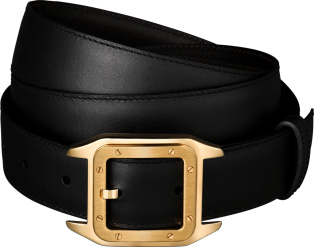 Cartier カルティエメンズレザーベルトリバーシブル カーフレザーブラック×ダークブラウンサントス100ドゥカルティエフリーサイズ カット調整可能ゴールドSANTOS de Cartier BELT新品未使用【中古】