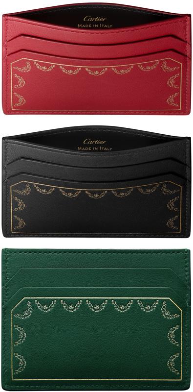 Cartier カルティエカードケース 名刺入れガーランドドゥカルティエゴールド箔押しロゴ 財布ブラック グリーン レッドカーフレザー 新品未使用 【中古】