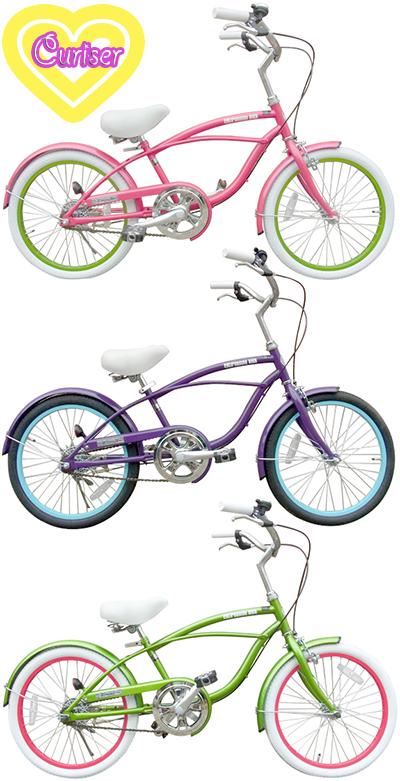 女の子も乗りたい!と言うご希望にお応えしました20インチ自転車 シティークルーザー小径車 ビーチクルーザー ミニベロブラック グリーン ピンク パープルアイラインフレーム カラーリム カラータイヤ仕様