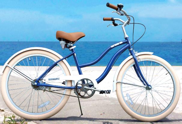 街乗り24インチ自転車 ビーチクルーザーライムグリーン ネイビ サックスライトブルー ブラックカラーリム&カラータイヤクルーザーハンドル仕様泥除け標準装備ツインウェーブフレームでスカートでも乗り易い