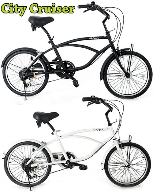 シマノ製6段変速付きシティークルーザーワイドハンドルバー20インチ自転車ミニベロ ビーチクルーザーアイラインフレームブラック ホワイト オリーブグリーンMINIVELLO BEACH CRUISER変速付き坂道も楽々小回りがきくシティーサイクル