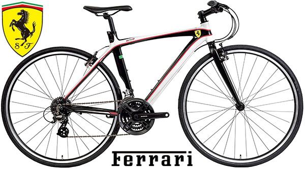 Ferrari F1好きにはたまらないイタリアスパーカーブランドフェラーリ クロスバイク700×28C 約27インチ自転車軽量アルミエアロモノコックフレームシマノ製24段変速ギア正規ライセンス商品 レッド ホワイト前倫クイックレリーズハブ仕様