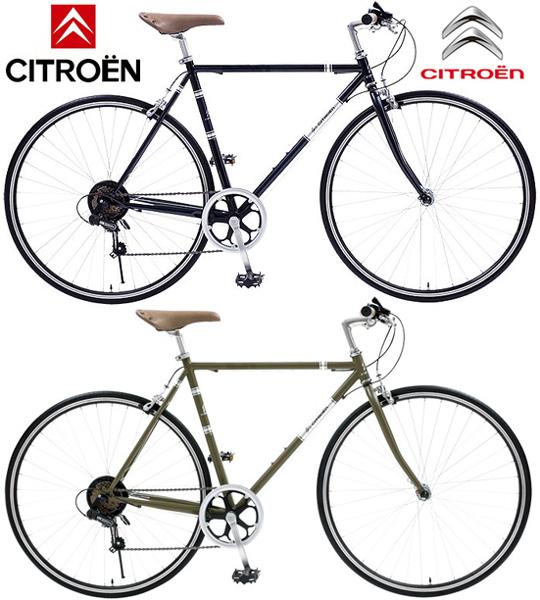 スタイリッシュなトラスフレーム700C 約27インチ自転車クロスバイク 街乗り自転車鋲打ちスポーティーサドルシマノ製6段変速ギア搭載カーキグリーン ブラック前輪クイックリリースハブ欧州スタイル CROSS BIKE