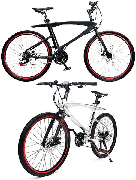 V字スタイリッシュ軽量アルミフレーム 18段変速付きカラーリムクロスバイク制動力抜群前後輪ディスクブレーキ仕様26インチ自転車 シティーサイクルメンテナンスに楽々フロントクイックリリース仕様ブラック シルバー ボトルホルダー付き