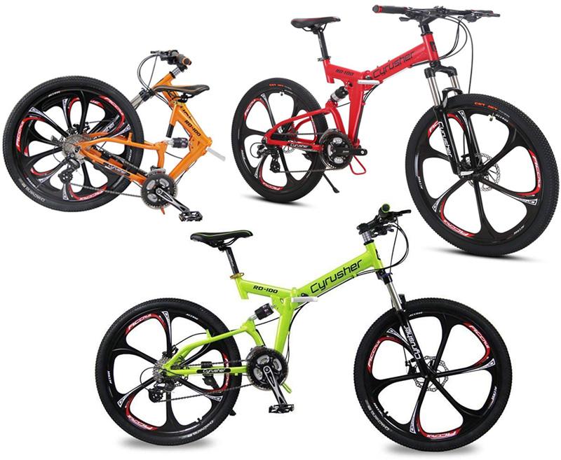ハイパフォーマンスマウンテンバイク制動力抜群前後輪ディスクブレーキ仕様Wサス搭載26インチ折り畳み自転車レッド オレンジ グリーンシマノ製24段変速 リム軽量アルミフレーム ダブルペンションスタイリッシュブレードリム 折りたたみ自転車