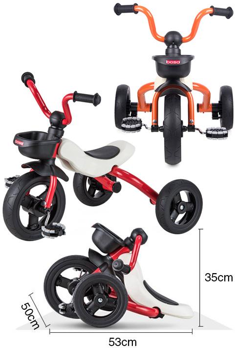 カゴ付きスタイリッシュトライクイタリアンデザイン折り畳み可能三輪車ハーレー式U型アップハンドル三輪車 オレンジ レッド ホワイトクッションサドル収納と持ち運びが楽々弧形のサドルハンドルとフレームが折りたたみ可能FOLDABLE Trikes&Bikes