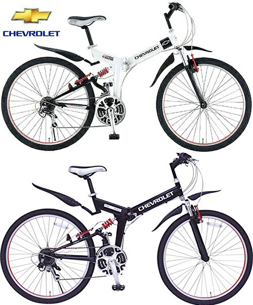 dfd554c15b4 CHEVROLET Chevrolet W suspension equipped with folding 26 inch bicycle  mountain bike MTB shock absorbing ダブルサス suspension by Shimano 18-speed gear  with ...