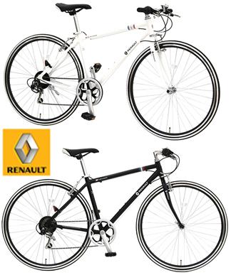 RENAULT ルノー クロスバイク700C 約27インチ自転車シマノ製6段変速ギア軽量アルミフレームブラック ホワイト シティーサイクルメンテナンスや収納、運びに便利な前輪前クイックリリースハブ仕様ラインタイヤ スローピングフレーム採用