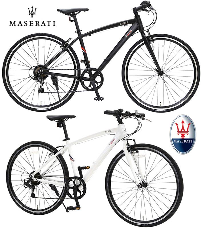 MASERATI マセラッティークロスバイク 700C 約27インチ自転車軽量アルミフレーム ホワイト ブラックシマノ製7段変速機搭載メンテナンスに便利な前輪クイックリリースハブダイヤモンド型スローピングフレーム前後Vブレーキ カーメーカー