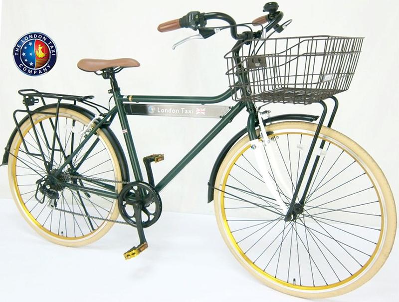 レトロクラシッククロスシティーバイク700C 約27インチ自転車シマノ製6段変速ギアフロントキャリア&リア搭載ブリティッシュグリーンカラータイヤ クラシカルレトロサイクルワイドバスケット トラスフレーム