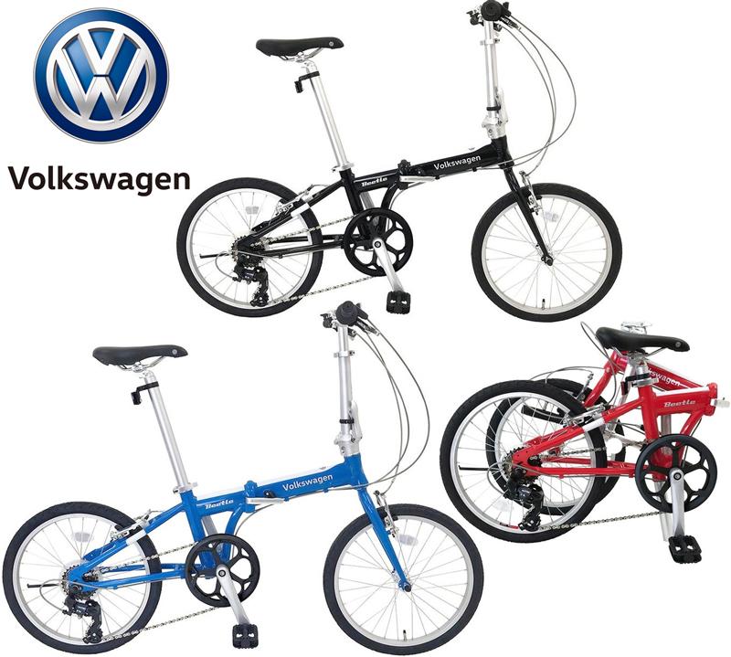 Volkswagen フォルクスワーゲン20インチ折り畳み自転車 小径車シマノ製7段変速ギアブラック レッド ブルーグリップシフター採用ホワイトデカールツートンカラーロゴ入りスポーティーサドル