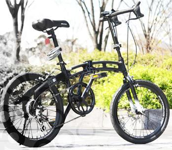 20インチ折り畳み自転車 スポーツサイクル DGブラックフレームシマノ製6段変速ギア&ワイヤーロック&LEDフロントライト付きツインチューブアルミフレーム ブルホーンバーハンドル折りたたみ自転車 フォールディングバイク