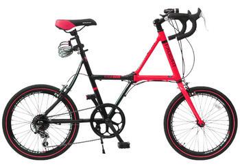 20インチ折り畳み自転車 クロスバイク DGレッド×ブラックフレーム レッドラインシマノ製7段変速ギア&ワイヤーロック&LEDフロントライトドロップハンドル アルミフレーム 小径車 ミニベロ クロスフレーム折りたたみ自転車 フォールディングバイク