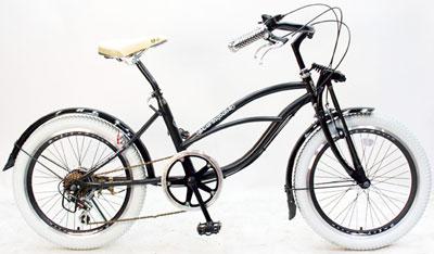 20インチ ビーチクルーザー 自転車 6段変速 ビーチスリックフロントフォークサスペンションローライダーテリーサドル ベル クルーザーバーホワイトタイヤ採用 しかも太めのファットタイヤ LOW RIDER
