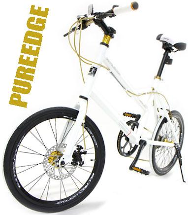 制動性抜群!フロントディスクブレーキ軽量アルミフレームホワイト×ホワイトラインタイヤ20インチ自転車 ミニベロシマノ製7段変速ギア搭載小径車 MINIVELOLEDライト&ワイヤーロック標準装備KMC製ゴールドチェーン ゴールドパーツ