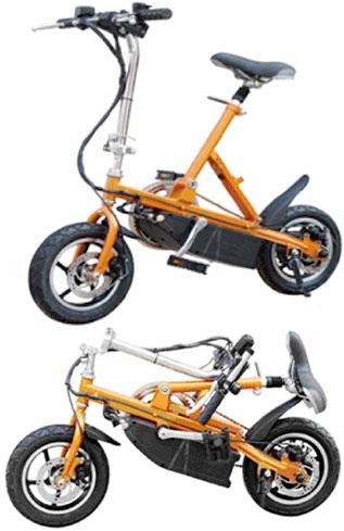超コンパクト12インチ折り畳み電動アシスト自転車アクセル回して前進!制動力抜群の前後輪ディスクブレーキ採用ハンドル&シートポスト折り畳み可能シルバー オレンジ車のトランクにもスッポリ!電動自転車広い工場内のちょっとした移動などに