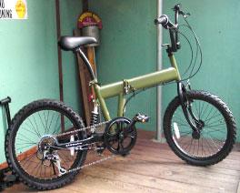 折りたたみ自転車ビーエムエックス20インチ自転車 BMXモトクロスバイク段差の衝撃も吸収リアサスペンション搭載シマノ製6段変速ギア搭載マットブラック マットオリーブ