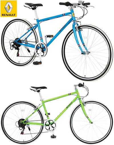 RENAULT ルノー シティーサイクル700C 約27インチ自転車シマノ製6段変速ギア&ボトルゲージ搭載ライトグリーン ブルー ホワイトクロスバイク ツートンカラータイヤCROSSBIKE AL-CRB7006