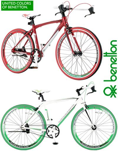 贝纳通意大利统一颜色的服装品牌贝纳通 ブルハンドル & 重量轻铝框架的自行车 700 C (约 27 英寸) 自行车白色 x 绿色红色城市周期 フリップフラッグハブ & 单速度与