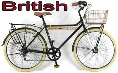 ブリティシュスタイルサイクルプチ砲弾オートライト付き26インチ自転車フロントキャリア&リアパイプキャリアシマノ製6段変速ギア搭載ベンドハンドル&ベル&アイボリーカラータイヤ クラシックレトロホワイト ブラックClassic Retoro Bike