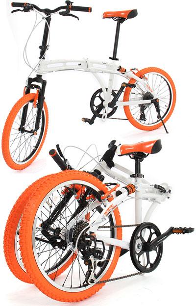 20インチ折り畳み自転車 小径車カーブドツインチューブ軽量アルミフレームシマノ製7段変速ギアダブルサスペンションブラック×オレンジタイヤ  ブラック ホワイトWサス LEDライト フロントフォークサスペンション メッシュワイヤー