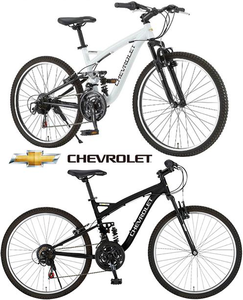 軽量アルミフーレム マウンテンバイクFサス&Rサス搭載 26インチ自転車ホワイト ブラック Wサスシマノ製18段変速ギアリアサスペンション MTBフロントサスペンション ATB CHEVROLETタウンユースライン シボレー クロスバイク