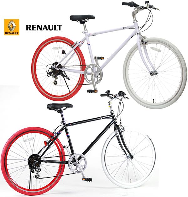 RENAULT ルノー 26インチ自転車クロスバイク レッドカラータイヤ シマノ製6段変速ギアホワイト ブラック ホワイトカラータイヤ可変式ハンドルステムポジションキャリパーブレーキ CROSS BIKEフロントクイックリリースハブシティーサイクル