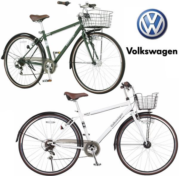Volkswagen フォルクスワーゲン27インチ自転車 パンクしないタイヤ仕様通勤通学に大きめのタイヤでスピードアップ暗くなると点灯オートライト街乗りシティーサイクルブラック ホワイト スタイリッシュデザインシマノ製6段変速&泥除け