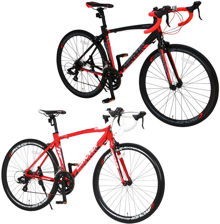 ドロップハンドルバー ロードバイク700C 約27インチ自転車軽量アルミフレームデュアルコントロールレバーシマノ製16段変速付きレッド ブラック 軽量アルミフレーム前後輪クイックリリースハブ採用空気抵抗を抑えるエアロシートチューブ