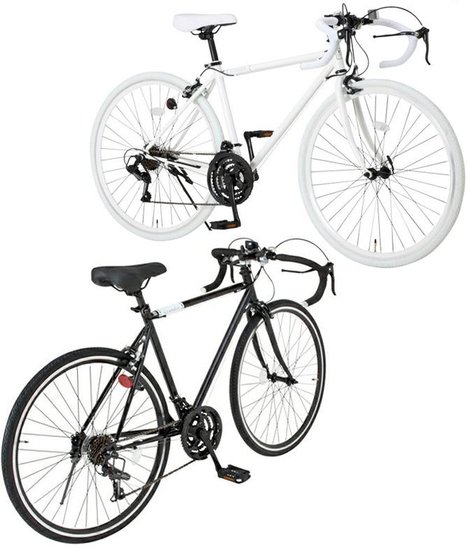 ドロップハンドル仕様ロードバイク700C 約27インチ自転車ロードサイクル ホワイト ブラックドロップシマノ製21段変速付きメンテナンスや収納にも便利な前輪クイックリリースハブ仕様シャローカラーリム カットアウトサドル70028C470WH520BK