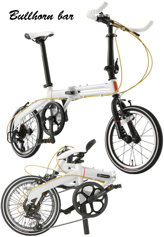 ブルホーンハンドルバー仕様16インチ折りたたみ自転車軽量アルミパラレルツインフレーム仕様シマノ製7段変速ギア搭載ホワイト×アクセントゴールドカラーメッシュワイヤーハンドル高さ調整可能ロングシートポスト トレッドラインスリックタイヤ