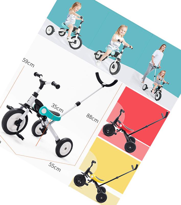 コレ1台でながーく使える手押し棒付き三輪車 バランスバイク子供用乗用玩具 レバー操作で乗って楽む取り外し可能プッシュバーフットレスト付き3輪車組み替えでトランスフォームする3in1ベビーカー