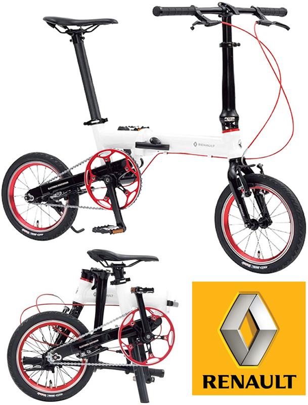 RENAULT ルノー 7.5kgの超軽量14インチ折り畳み自転車リアエラストマサスペンション搭載スタイリッシュフォールディングホワイト×レッドリムコンパクトに収納可能高さ調整機能付きハンドルステムシティーサイクルFOLDINGBIKE FDB14WHRE