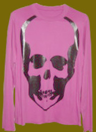 LUCIEN LONG SLEEVES T-SHIRTS SilverSkullルシアン 丸首長袖Tシャツ 銀ドクロ ピンク 黒