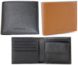 BVLGARI ブルガリ メンズ小銭入れ付き二つ折財布ブラック 黒色 アンバーブラウン 茶色クラシコ グレインレザーさいふ サイフ ウォレット型押しロゴカーフ2つ折財布 クラシコ