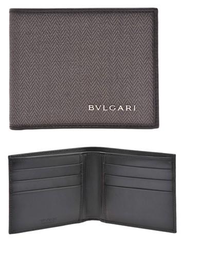 ede1e9c8b8b9 BVLGARI ブルガリ 二つ折り財布札入れ カードケースグレー×ブラック ウィークエンド小銭入れ無し コー