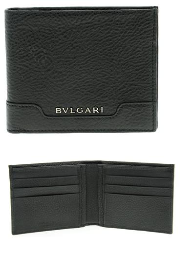 BVLGARI WALLETブルガリ 二つ折り財布URBAN アーバン小銭入れ無し グレインレザーさいふ サイフ ウォレット ブラック