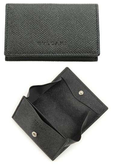BVLGARI COIN WALLETブルガリ コインケース型押しカーフ 小銭入れさいふ サイフ ウォレットエンボスロゴブラック グレインレザーホック式 コインホルダー