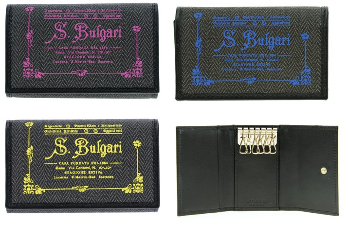 BVLGARI KEYCASEブルガリ 6連キーケースCOLLEZIONE1910 コレツィオーネ ダークグレーコーティッドヘリテージキャンバスピンク イエロー ブルー32439PK32438YE32436BL