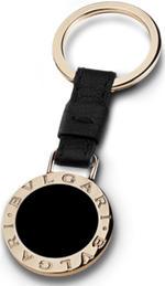 BVLGARI キーリング ブルガリブラックカーフレザー×ゴールドリングホルダーゴールド刻印ロゴプレートキーホルダー リングホルダAccessory Jewellery Keyholder Keyring