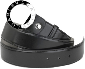 BVLGARI ブルガリ レザーベルトロゴー刻印シルバーリングバックルブラックカーフレザー スムース グレインオフタイム用としてお薦め黒色 メンズ レディースフリーサイズ カット調整可能Round curved men beltブルガリブルガリクロージャー
