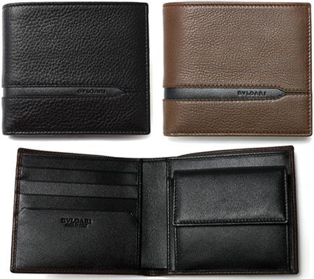 BVLGARI ブルガリ エンボスロゴ小銭入れ付き2つ折り財布オクト 型押しレザーブラック ダークブラウン ベージュグレインカーフレザーOCTO WALLET 二つ折り財布さいふ サイフ 札入れgrain calf leather