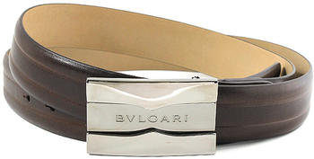 BVLGARI ブルガリ メンズレザーベルトロゴ刻印プレートバックル ダークブラウンビジネス&プライベートにカット調整可能 フリーサイズスムースカーフレザービジネス用としてもオススメ茶色 BELT SMOOTH LEATHER