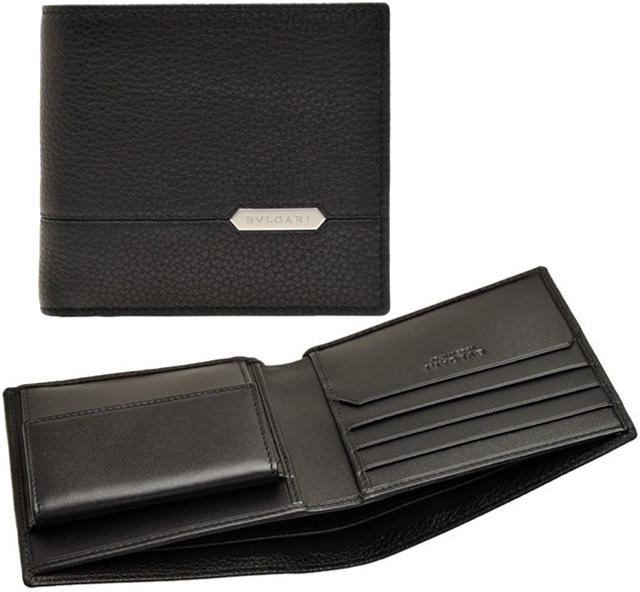df15e0ea7ddf BVLGARI ブルガリ メンズ小銭入れ付き二つ折り財布 ブラック小銭入れ無しカードケース ダーク