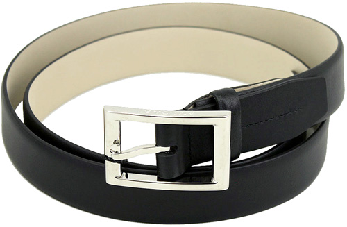 BVLGARI ブルガリメンズレザーベルト ブラック バックル上部ロゴ刻印スクエアフレームバックルカーフレザー 黒色 BELT フリーサイズカット調整可能ビジネス用としてオススメ